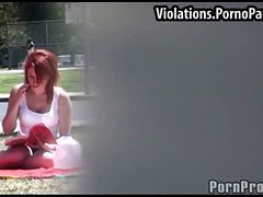 Cute redhead gets outdoor facial