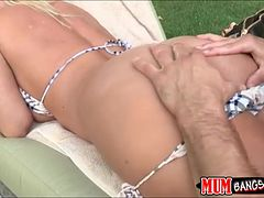 Dude bangs his GF Britney Young and her busty stepmom Devon Lee