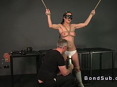Tied up sub deep throat fucked in dungeon
