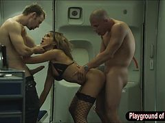 Feisty stewardess Katsuni hot threesome with the pilots