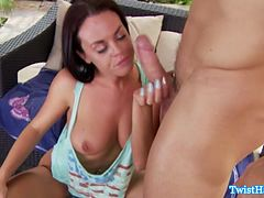 Brunette babe rides cock outdoors