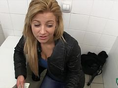Real amateur blonde Czech slut screwed up in toilet for cash