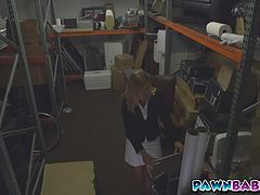 Blonde sexy MILF takes a facial in the storage room to a pawn shop