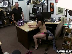 Hot Latina babe sucking on a cock at the pawn shop