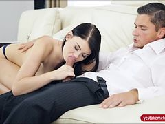 Lustful black raven haired babe Lucy Li nailed on the couch
