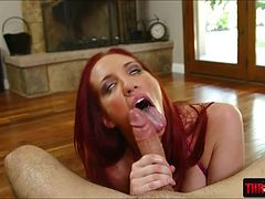 Dick addict slut Kelly Divine shows how good she is in giving deep bj