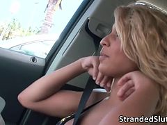 Valentinas tight pussy gets banged in the frontseat of the car