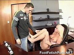 smoking blonde for footfetish