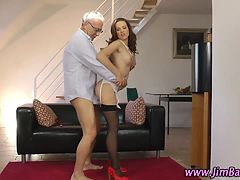 Amateur in stockings fucked by old guy