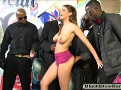 Sexy huge boobs babe Brooklyn Chase interracial blowbang