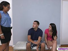 Hot step mom shows her fucking skills with nasty teen couple