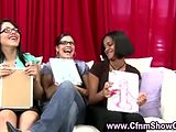 Amateur girls enjoy watching black CFNM guy strip