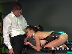 Chained slaved suck and fuck in dungeon