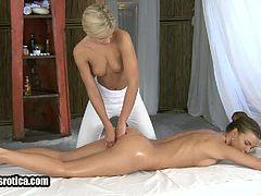 Foxy blonde lesbian babe getting an erotic massage