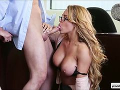 Sexy blonde Corinna Blake gets fucked in reverse cowgirl