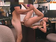Big titty Latina sells her stuff and railed by pawnkeeper