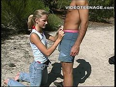 blonde teen blowjob at beach
