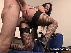 French milf gina analfucked in stockings